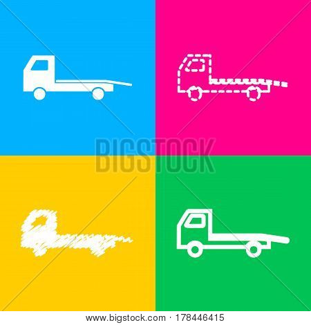 Service of evacuation sign. Wrecking car side. Car evacuator. Vehicle towing. Four styles of icon on four color squares.