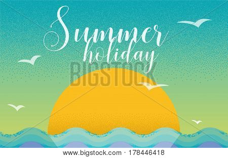 Summer holiday card design in retro style with sunset and sea. Design template for poster, web banners ad, party invitation, article, post card.