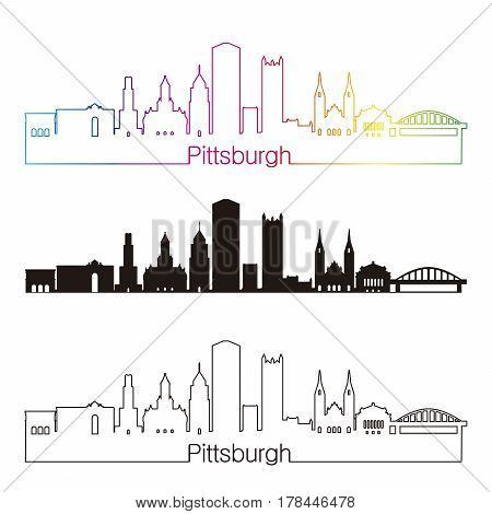 Pittsburgh V2 Skypline Linear Style With Rainbow