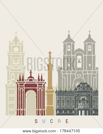 Sucre skyline poster in editable vector file poster