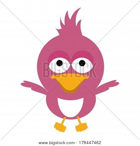 pink cartoon chicken little open wings vector illustration