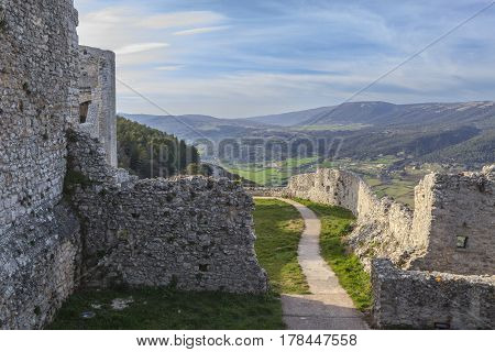 View of the Monte Sant'Angelo Castle.It is an architecture in the Apulian city of Monte Sant'Angelo, Italy.