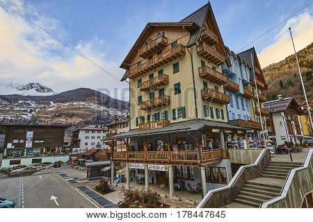 Cogolo, Italy - March 6, 2017: View Of The Town Center On 6 Marc
