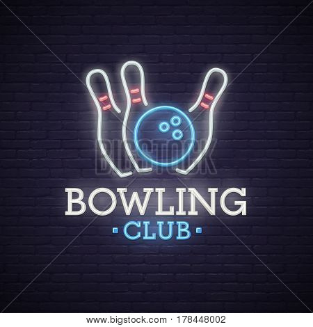Bowling neon sign. bright signboard, light banner. Bowling club logo, emblem.