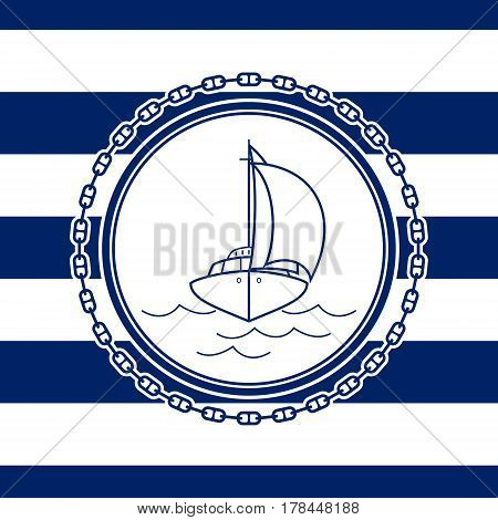 Sea Emblem on a Striped Marine Background, a Sailboat in Line Style, Vector Illustration