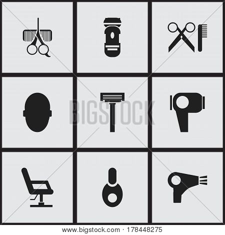 Set Of 9 Editable Coiffeur Icons. Includes Symbols Such As Hairdresser Set, Shaver, Barber Tools And More. Can Be Used For Web, Mobile, UI And Infographic Design.