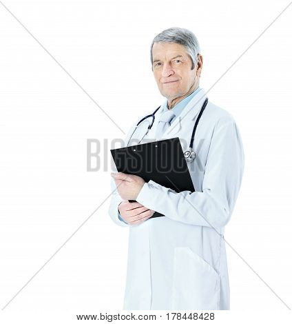 Adult experienced doctor with a folder and stethoscope. Isolated on white background.