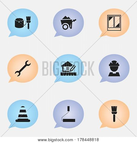 Set Of 9 Editable Structure Icons. Includes Symbols Such As Roller, Worker, Handcart. Can Be Used For Web, Mobile, UI And Infographic Design.