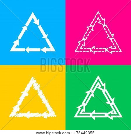 Plastic recycling symbol PVC 3 , Plastic recycling code PVC 3. Four styles of icon on four color squares.