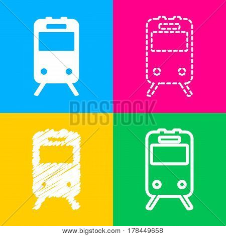Train sign. Four styles of icon on four color squares.