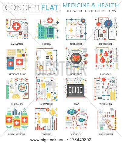 Infographics mini concept Medicine and health icons for web. Premium quality color conceptual flat design web graphics icons elements. Medicine health concepts
