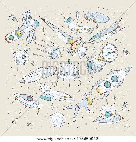 Hand drawn cartoon space planets, shuttles, rockets, satellites, cosmonaut and other elements, Set doodles cosmic symbols and objects.