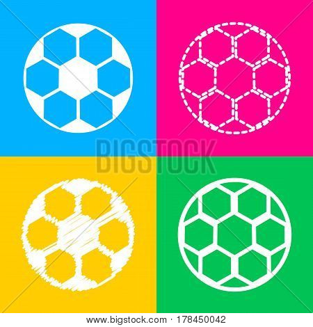 Soccer ball sign. Four styles of icon on four color squares.