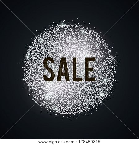 Shine salling background for flyer, poster, shopping, for symbol sign, discount, selling, banner, web, header. Vector stippling, glitter, grainy frame