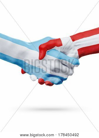 Flags Argentina Denmark countries handshake cooperation partnership friendship or national sports team competition concept isolated on white