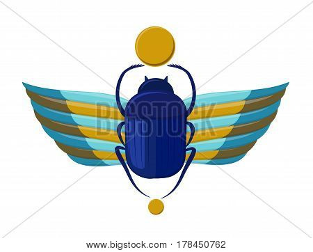 Egyptian bug-beetle with wings. Symbolism of ancient Egypt. Scarabeus beetle. Idol - Scarab bug on white