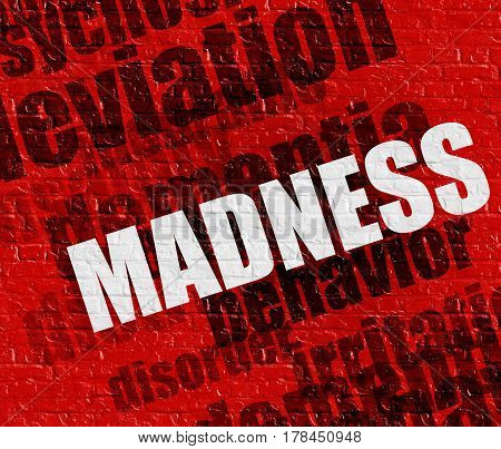 Modern health concept: Red Brick Wall with Madness on the it . Madness - on the Wall with Word Cloud Around .
