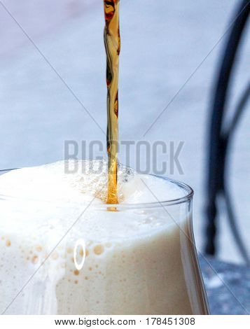 Pouring Beer Into A Glass,macro Shot