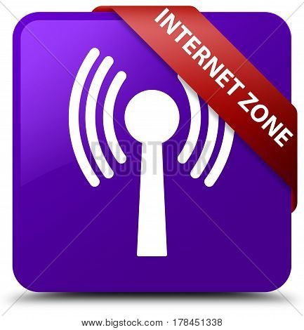 Internet Zone (wlan Network) Purple Square Button Red Ribbon In Corner