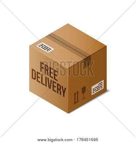 Free Delivery icon. Isometric cardboard box sealed with Tape Dispenser. 3D vector warehouse object isolated on white. Shipping packaging concept. Storage items. Brown carton crate. Logistic theme