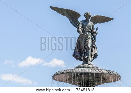 New York USA- May 20 2014. Bethesda Fountain (Angel of water fountain) by Emma Stebbin located in Central Park New York City USA.
