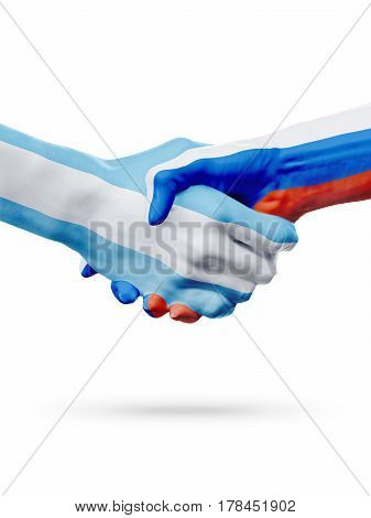 Flags Argentina Russia countries handshake cooperation partnership friendship or national sports team competition concept isolated on white