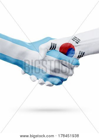 Flags Argentina South Korea countries handshake cooperation partnership friendship or national sports team competition concept isolated on white