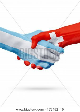 Flags Argentina Switzerland countries handshake cooperation partnership friendship or national sports team competition concept isolated on white