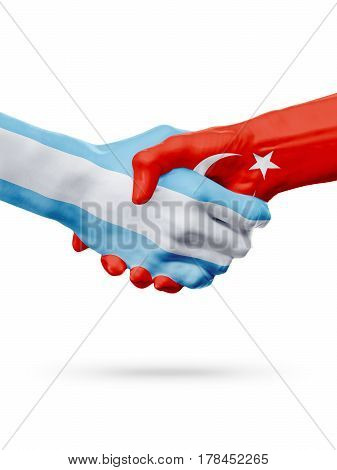 Flags Argentina Turkey countries handshake cooperation partnership friendship or national sports team competition concept isolated on white