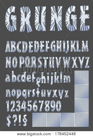 Grunge alphabet in metallic design upper case lower case number symbols silver grid elements vector EPS 10