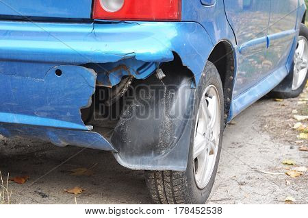 KIEV UKRAINE - March 28 2017:  Car Bumper Repair-How To Fix A Cracked Bumper Cover. Car bumper after accident on a road.
