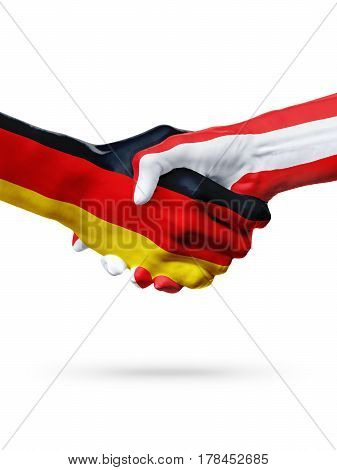 Flags Germany Austria countries handshake cooperation partnership friendship or sports team competition concept isolated on white