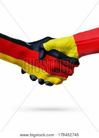 Flags Germany Belgium countries handshake cooperation partnership friendship or sports team competition concept isolated on white