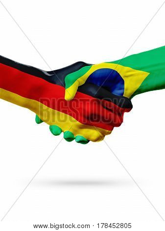 Flags Germany Brazil countries handshake cooperation partnership friendship or sports team competition concept isolated on white