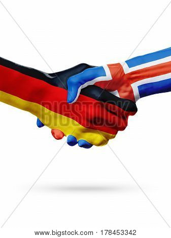 Flags Germany Iceland countries handshake cooperation partnership friendship or sports team competition concept isolated on white