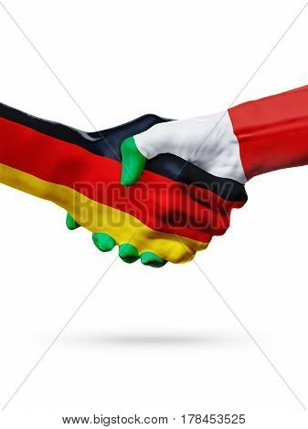 Flags Germany Italy countries handshake cooperation partnership friendship or sports team competition concept isolated on white