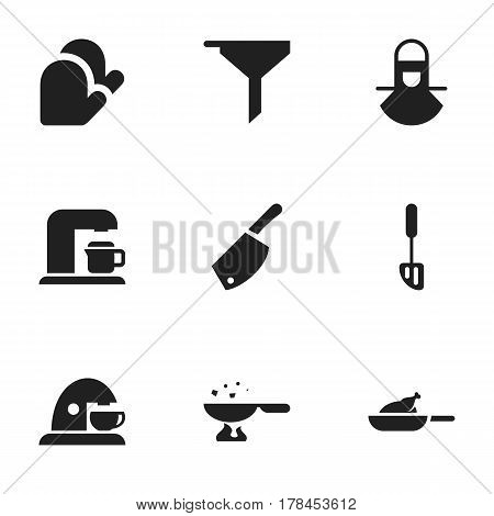 Set Of 9 Editable Meal Icons. Includes Symbols Such As Rocker Blade, Grill, Cooking Pan And More. Can Be Used For Web, Mobile, UI And Infographic Design.
