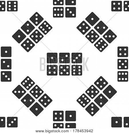 Set of six dices icon seamless pattern on white background. Vector Illustration