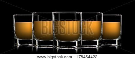 Set of colorful strong liquor classic glasses on black background