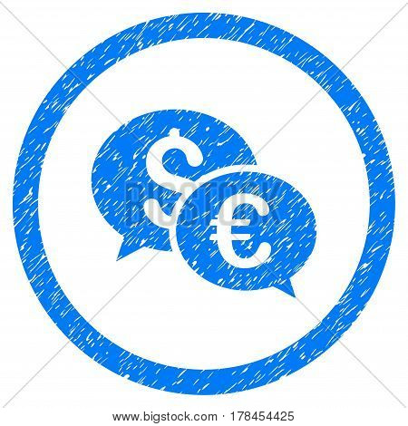 Rounded Euro And Dollar Transactions rubber seal stamp watermark. Icon symbol inside circle with grunge design and dust texture. Unclean vector blue sticker.