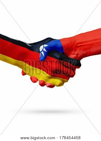 Flags Germany Taiwan countries handshake cooperation partnership friendship or sports team competition concept isolated on white