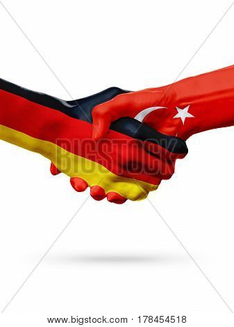 Flags Germany Turkey countries handshake cooperation partnership friendship or sports team competition concept isolated on white