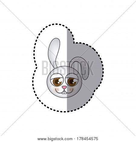small sticker of colorful picture face of rabbit with big eyes vector illustration
