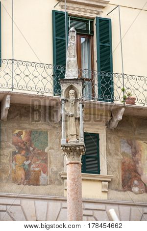 The fifteenth-century column at Piazza Bra in Verona. Italy