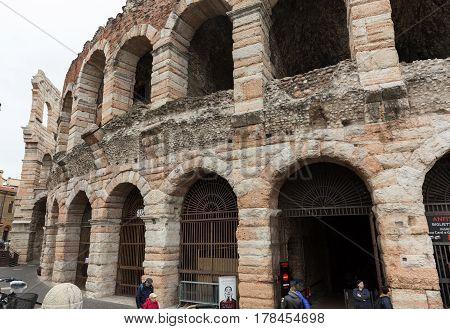 VERONA ITALY - MAY 1 , 2016: Ancient roman amphitheatre Arena in Verona Italy