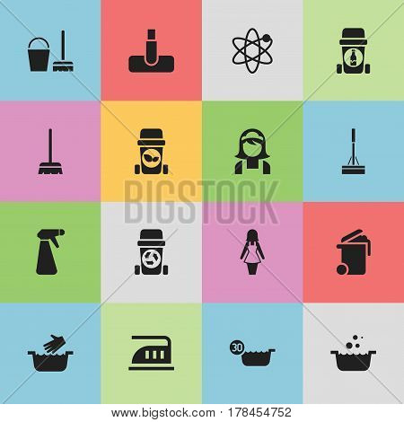 Set Of 16 Editable Hygiene Icons. Includes Symbols Such As Pulverizer, Power, Trash Bin And More. Can Be Used For Web, Mobile, UI And Infographic Design.