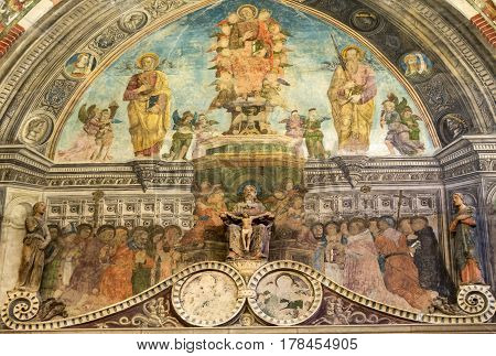 VERONA ITALY - MAY 1 2016 - Interior of Sant'Anastasia Church in Verona Italy. Sant'Anastasia is a church of the Dominican Order in Verona it was built in 1280 -1400