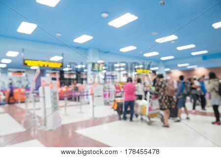 Abstract Blur Background Of People Or Crowd Lineup To Checkin At Airline Counter