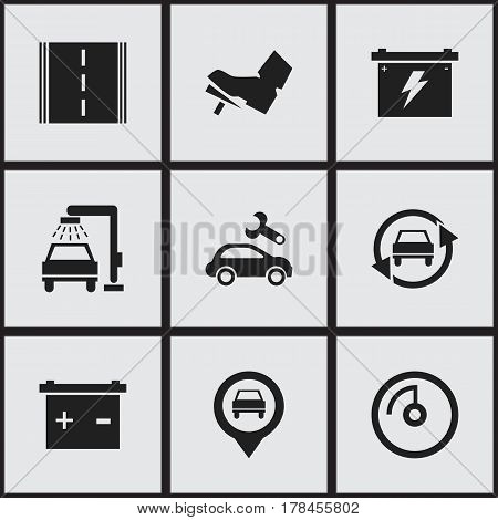 Set Of 9 Editable Car Icons. Includes Symbols Such As Accumulator, Treadle, Speed Display And More. Can Be Used For Web, Mobile, UI And Infographic Design.