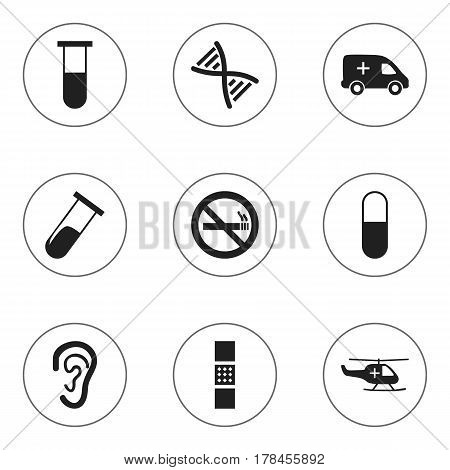 Set Of 9 Editable Health Icons. Includes Symbols Such As Medical Aviation, Wound Band, Listen. Can Be Used For Web, Mobile, UI And Infographic Design.